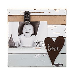 Sweet Bird & Co. Reclaimed Wood Love 4-Inch x 6-Inch Clip Picture Frame in Blue