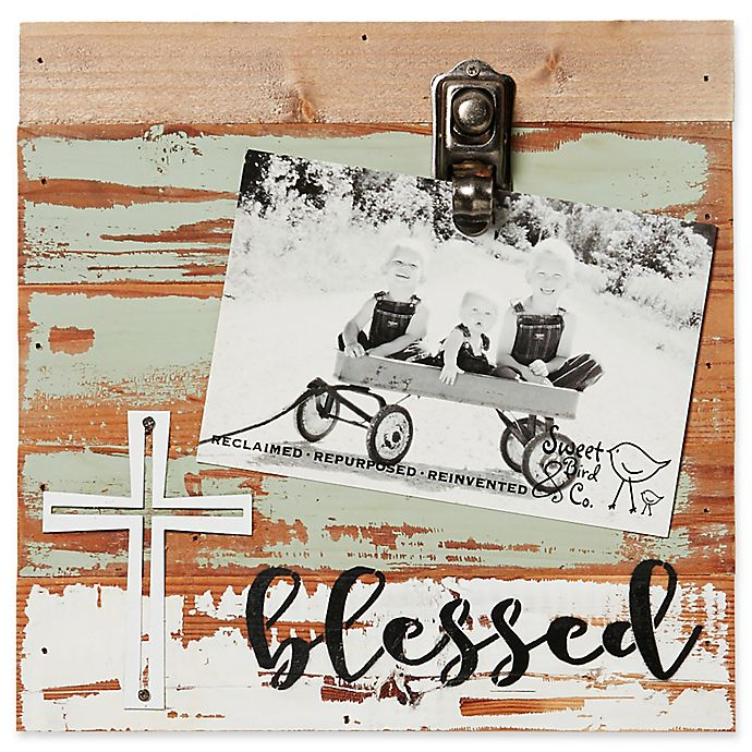 Alternate image 1 for Sweet Bird & Co. Reclaimed Wood Blessed 4-Inch x 6-Inch Clip Picture Frame in Seafoam
