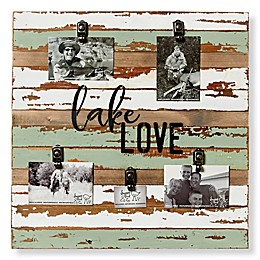 Sweet Bird & Co. Reclaimed Wood Lake Love 5-Photo Collage Clip Picture Frame in Seafoam