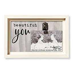 Sweet Bird & Co. Artful Wood Beautiful You 4-Inch x 6-Inch Clip Picture Frame in Grey