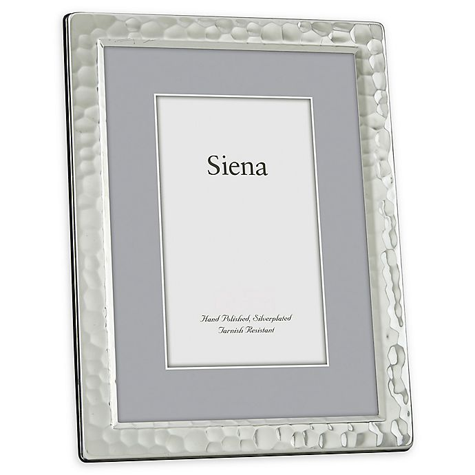 Alternate image 1 for Siena 5-Inch x 7-Inch Narrow Hammered Silver-Plated Picture Frame