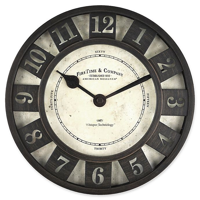 Alternate image 1 for FirsTime® Barstow Wall Clock in Oil Rubbed Bronze