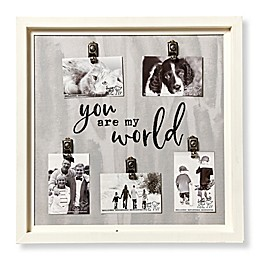 Sweet Bird & Co. Artful Wood My World 5-Photo Collage Clip Picture Frame in Grey