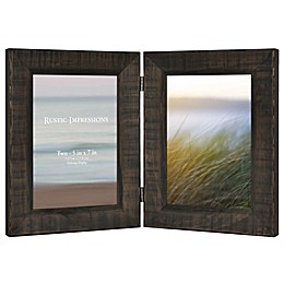 Rustic Wood 2-Photo Collage Picture Frame