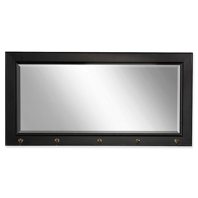 Alternate image 1 for Kate and Laurel Traditional Wood Pub 18-Inch x 36-Inch Mirror with Hooks