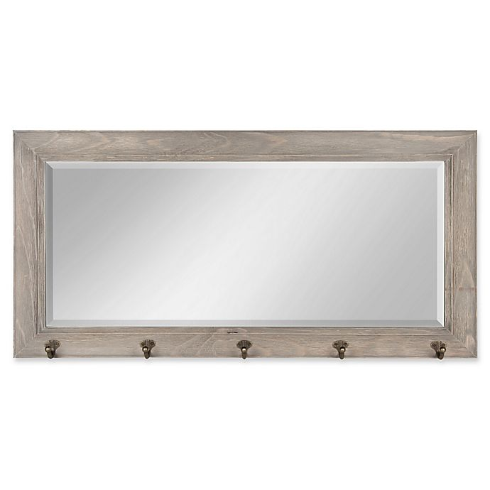 Alternate image 1 for Kate and Laurel Traditional Wood Pub 18-Inch x 36-Inch Mirror with Hooks in Grey