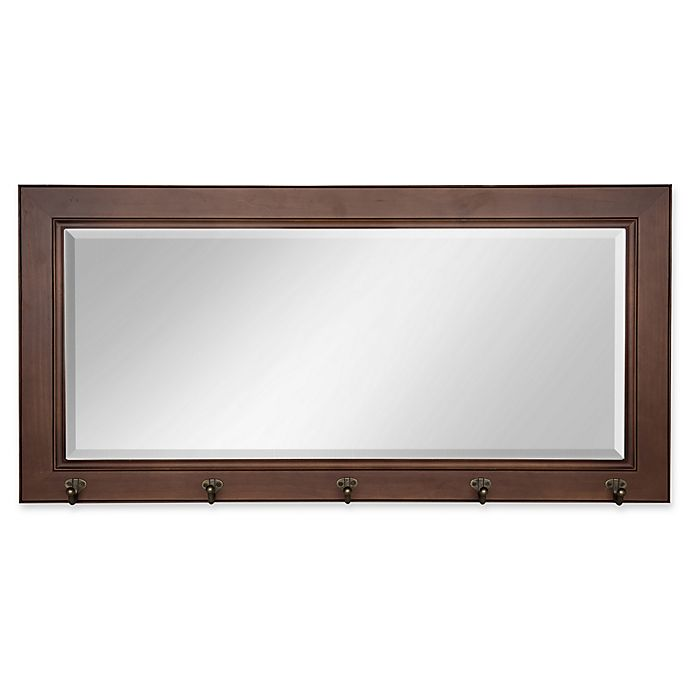 Alternate image 1 for Kate and Laurel Traditional Wood Pub 18-Inch x 36-Inch Mirror with Hooks in Brown