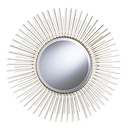 Southern Enterprises Modern 32.5-Inch Round Sunburst Wall Mirror in Metallic Champagne Gold