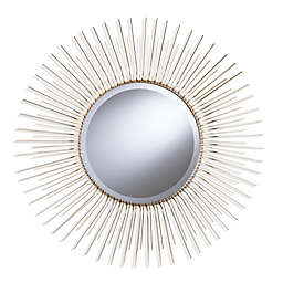 Southern Enterprises Modern 32.5-Inch Round Sunburst Wall Mirror in Metallic Champagne Gold