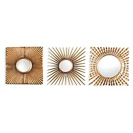 Southern Enterprises 3-Piece Lorzy Decorative Mirror Set in Burnished Gold