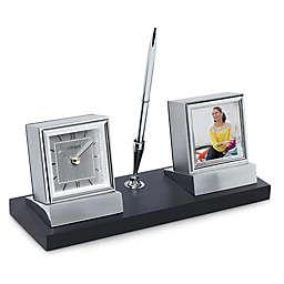 Citizen Executive Suite Wood Base Desk Clock with Photo Frame, Pen, and Engravable Plaque