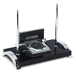 Citizen Executive Suite Crystal Base Desk Clock with Card Holder, 2-Pen Set, Engravable Plaque