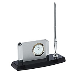 Citizen Executive Suite Crystal Base/White Dial Desk Clock w/Card Holder, Pen, and Engravable Plaque
