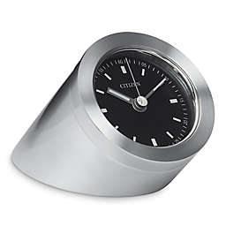 Citizen Workplace Silver-Tone/Black Dial Luminescent Desk Clock w/Engravable Plate
