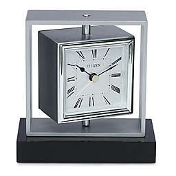 Citizen Decorative Silver-Tone/Black Base Square Spinning Accent Clock with Engravable Plaque