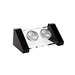 Citizen Workplace Silver-Tone/White Dials Crystal Base Dual Time Desk Clocks with Engravable Plaque