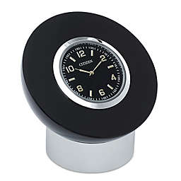Citizen Decorative Accent Black Dial/Crystal Frame Circular Desk Clock with Engravable Plaque