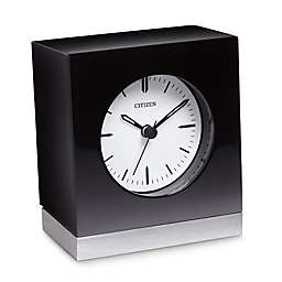 Citizen Workplace Black Circular Dial Square Black/Silver-Tone Base Desk Clock with Engravable Plate