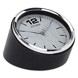 Citizen Decorative Accent Silver-Tone Frame/Carbon Fiber Dial Desk Clock with Black Wood Base