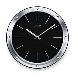 Citizen Gallery Modern Silver-Tone Frame with Black Dial Round Wall Clock
