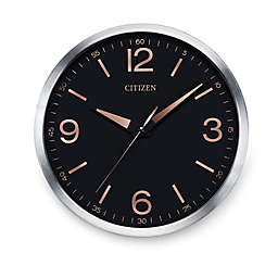 Citizen Gallery Brushed Silver-Tone with Black Dial Wall Clock