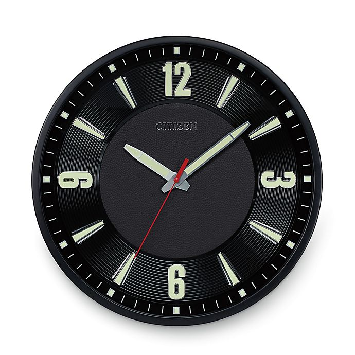 Alternate image 1 for Citizen Gallery Black with Raised Black Leather Dial Luminescent Wall Clock
