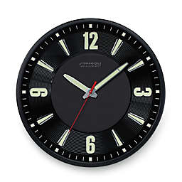 Citizen Gallery Black with Raised Black Leather Dial Luminescent Wall Clock