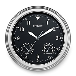 Citizen Outdoor Weather-Resistant Silver-Tone with Grey Dial Luminescent Wall Clock