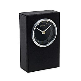 Citizen Gallery Black Leather/Silver-Tone with Engravable Plaque Wall Clock