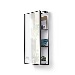 Umbra® Cubiko 25-Inch by 14-Inch Mirror and Storage Unit in Black