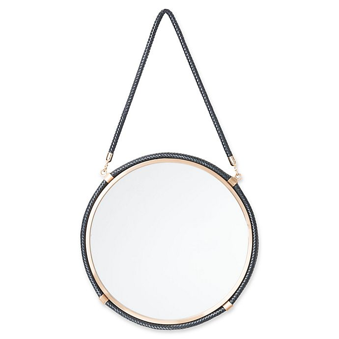 Alternate image 1 for Zuo® Leather 16.9-Inch Round Mirror in Black
