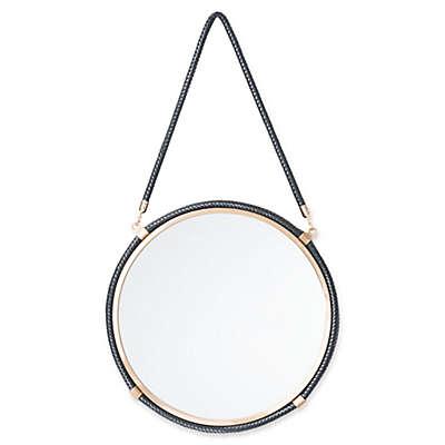 Zuo® Leather 16.9-Inch Round Mirror in Black