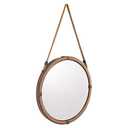Zuo® Modern Cuerda 23.6-Inch Round Mirror in Brown