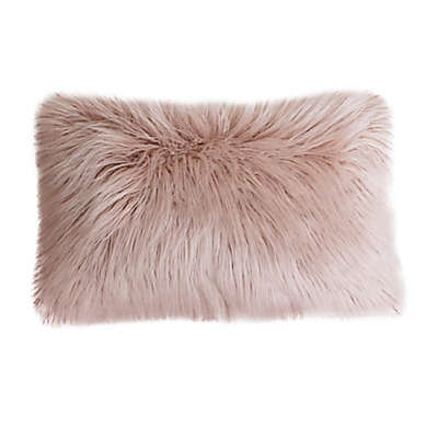 Thro Keller Faux Mongolian Fur and Micromink Rectangular Throw Pillow in Rose