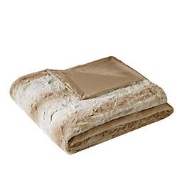 Madison Park Zuri Oversized Faux Fur Throw in Sand