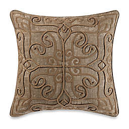 Rope Damask Square Throw Pillow in Caramel