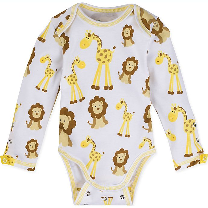 Alternate image 1 for MiracleWear Giraffe and Lion Bodysuit in Gold