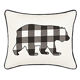 Eddie Bauer® Cabin Plaid Bear Breakfast Oblong Throw Pillow in Black
