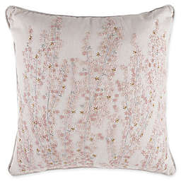 Embroidered Floral Square Throw Pillow in Blush