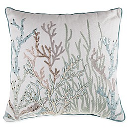 Coral Embellished Square Throw Pillow in Spa