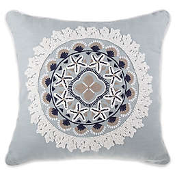 Coastal Medallion Square Throw Pillow in Blue
