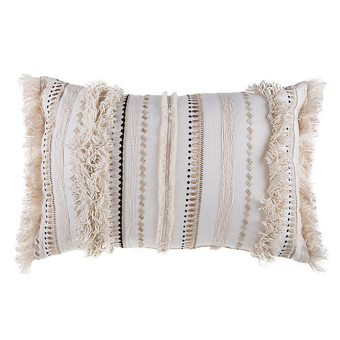 Alternate image 1 for Moroccan Embroidered Oblong Throw Pillow in Natural