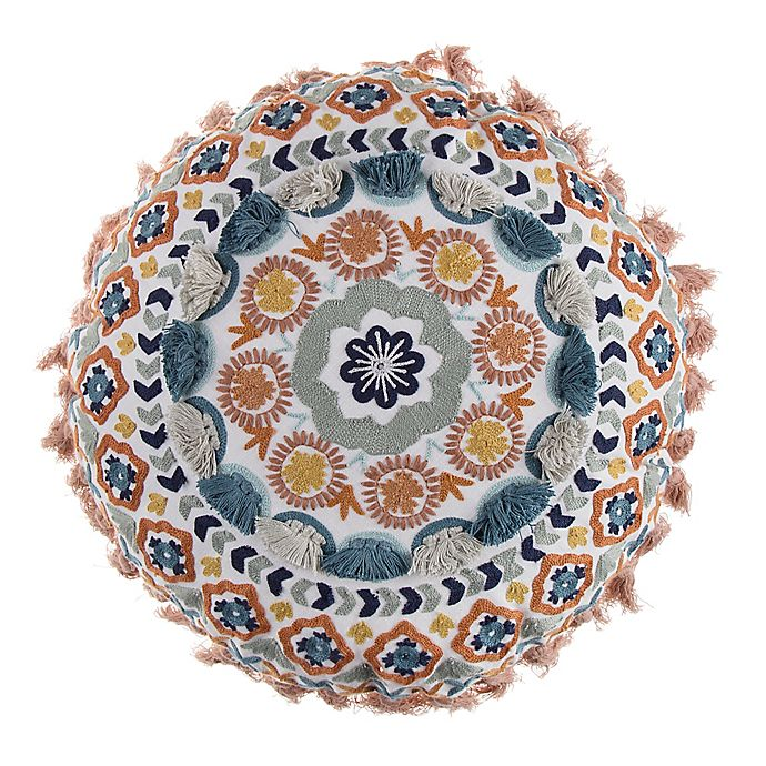 Swell Boho Embroidered 17 Inch Round Throw Pillow In Orange Bed Gamerscity Chair Design For Home Gamerscityorg