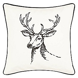 Eddie Bauer® Winter Morning Stag Square Throw Pillow in Black