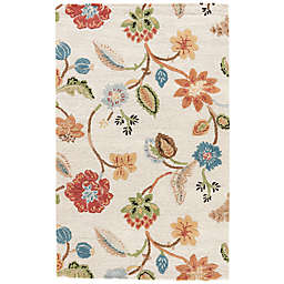 Jaipur Blue Collection Floral Rug in Ivory Multi