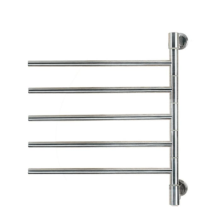 Alternate image 1 for Amba Swivel Wall Mount Plug-In Towel Warmer with 5 Bars in Brushed Stainless Steel