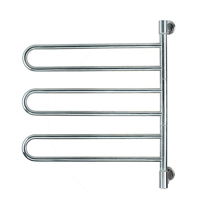 Alternate image 1 for Amba Swivel Wall Mount Plug-In Towel Warmer with 6 Bars in Brushed Stainless Steel