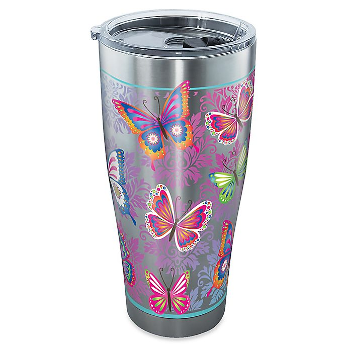 Alternate image 1 for Tervis® Butterfly Motif 30 oz. Stainless Steel Tumbler with Lid