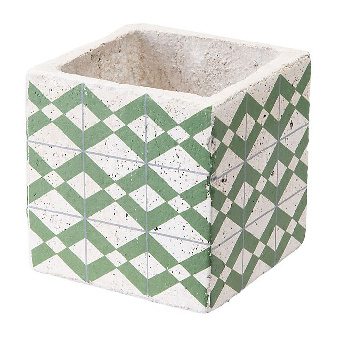 Alternate image 1 for Zuo® Cement Tribal Planter in Green and Yellow