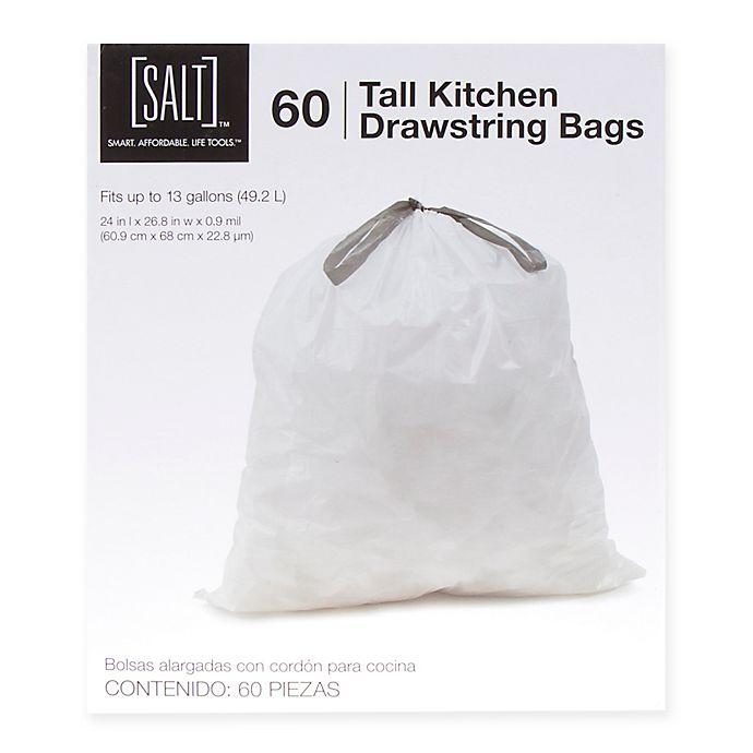 Alternate image 1 for SALT™ 60-Pack 13-Gallon Drawstring Trash Bags in White